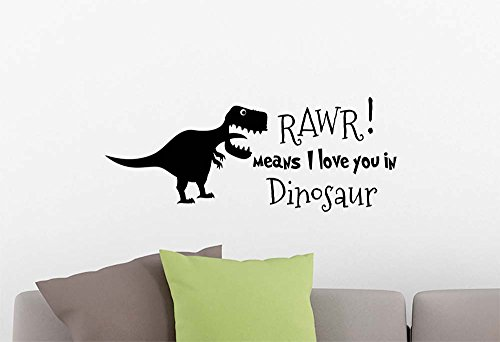 Wall Vinyl Decal Rawr means I love you in Dinosaur playroom sticker nursery vinyl saying lettering wall art inspirational sign wall quote decor (Dinosaurs Wall Art)