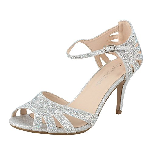 City Classified Reason Women's Strappy Open Toe Rhinestone Low Heel,Silver,6 ()