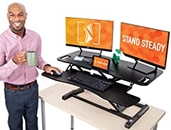 FlexPro Hero 37 Inch Standing Desk Converter Perfect for home and office! Tired of the pain and stiffness that comes from sitting all day? Turn any desk into a standing desk with the FlexPro Hero – the perfect ergonomic solution for a happier...