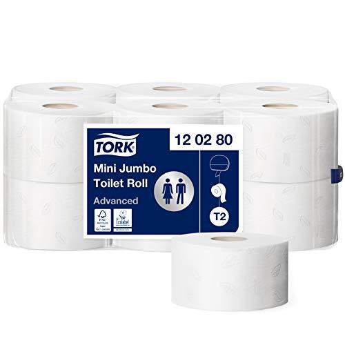Tork Mini Jumbo Toiletpapier Wit T2, Advanced, 2-laags, 12 x 170 m, 120280