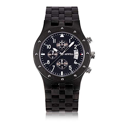 BEWELL Mens Wooden Watches Stylish Analog Quartz Movement Chronograph Handmade Wood Watch for Men
