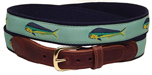 Men's Preston Leather Mahi Mahi Fish Belt (48) by Preston Leather