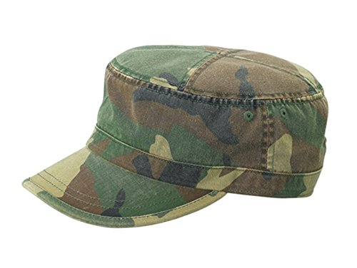 (G Men's Enzyme Washed Cotton Twill Army Castro Cap Camouflage Design (Green Camo))