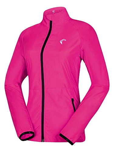 J. Carp Women's Packable Windbreaker Jacket, Lightweight and Water Resistant, Active Cycling Running Skin Coat, Rose Red L