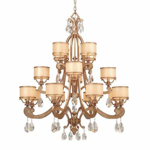 016 Corbett Lighting (Corbett Lighting 71-016 Roma 8+4+4-Light Chandelier, Antique Roman Silver Finish Cream Ice, Crystal Glass )