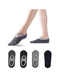 Sebami Calcetines de Yoga para Mujeres, Calcetines de Yoga 4 Pares Calcetines Antideslizantes para Yoga Pilates Ballet Barre Mujer
