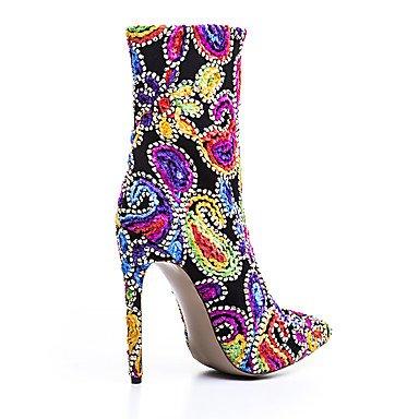 La mujer tejido bordado botas zapatos Otoño Invierno Oficina &Carrera parte &vestido de noche CasUal Botas de moda Zipper Flor Stiletto talón Blue