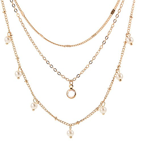 Beydodo Y Necklace Triple Strand Gold Plated Womens Choker Gold Chain Bohemian Necklace