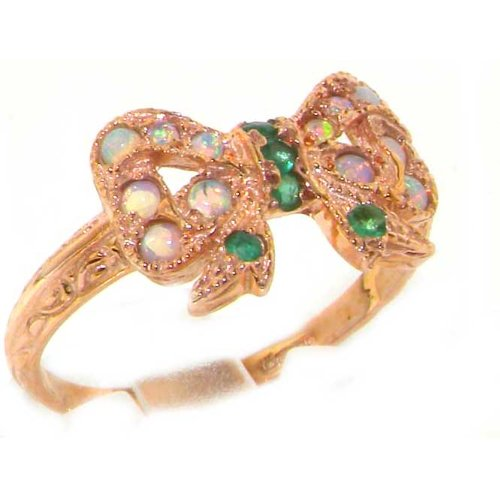Luxury 9K Rose Gold Womens Emerald & Fiery Opal Vintage Style Bow Ring – Size 12 – Finger Sizes 5 to 12 Available – Suitable as an Anniversary ring, Engagement ring, Eternity ring, or Promise ring
