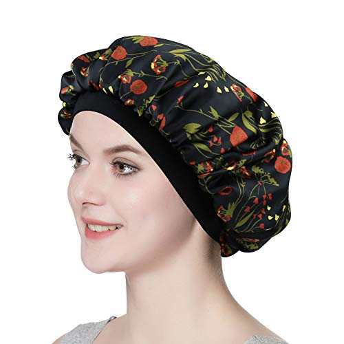 Satin Nightcap for Sleeping Women Classic Silk Bonnet with Soft - Classic Friction Lock