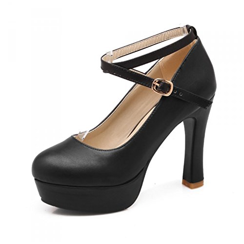 Summerwhisper Women's Sexy Extreme High Platform Round Toe Pumps Cross Ankle Strap Chunky Heel Shoes Black 10.5 B(M) ()