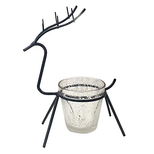 (Zainafacai Traditional Silver Metal Christmas Sleigh Reindeer Centerpiece Candleholder Holiday Mantel Decoration (Black) )