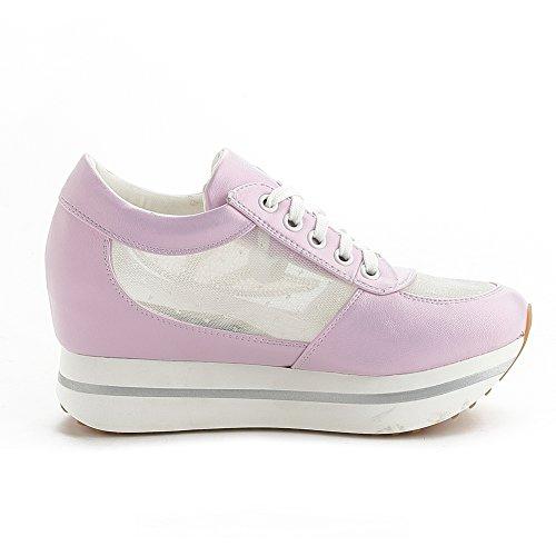 Giy Femmes Mode Cz Maille Bas Haut Lace-up Wedge Espadrilles Plate-forme Augmenté Hauteur Casual Sport Chaussures Violet