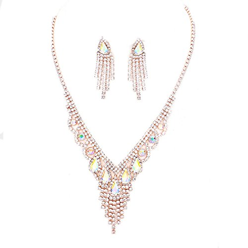 Statement AB Crystal Rhinestone Rose Gold Women Necklace Jewelry Earrings Set Prom Bride Pageant
