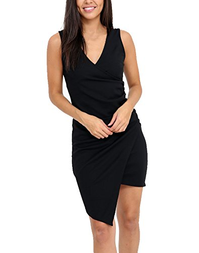 SOVIYAS Women's Sleeveless V-Neck Wrap Over Ruched Asymmetric Party Cocktail Dress - Ruched Asymmetric Dress