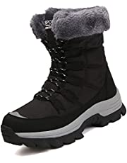 DimaiGlobal Women's Snow Boots Winter Warm Fur Lined Waterproof Trekking Boots Hiking Boots Trekking Hiking Shoes Sneakers Lace Up Walking Boots Outdoor Ladies Walking Shoes 6-10.5US