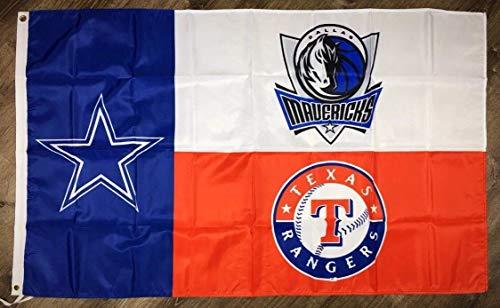 - Dallas Texas Teams Champions Logos Flag 3x5- With Grommets Cowboys Rangers Mavericks