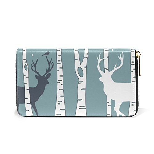 Deer Trees Purses With Womens Around TIZORAX Zip Birch Wallet Organizer And Clutch Handbags qFZwxO