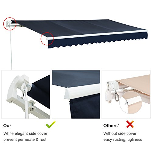 Diensweek Patio Awning Retractable Manual Commercial Grade - Quality 100% 280G Ployester Window Door Sunshade - Deck Canopy Balcony P100 Series 1 Years Warranty (12'x8', Navy Blue)
