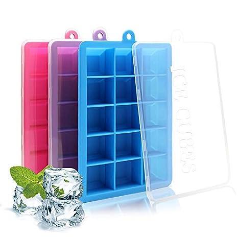 cubetti ghiaccio silicone  Vaschette Ghiaccio Silicone, Ghiaccio Stampo, PALADY 3 Pezzi 45 ...