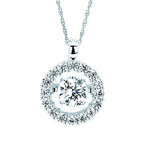 Brilliance in Motion 14K White Gold 3/4 Ctw. Diamond Halo Circle Pendant Necklace with 18 Inch Chain