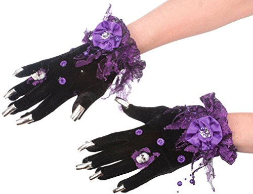 Halloween Costume Accessory Fancy Witch Gloves with Nails (Purple) (Halloween Witch Nails)