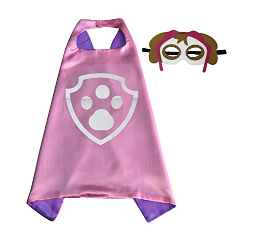 [Rush Dance Kids Children's Deluxe Comics Super Hero CAPE & Matching MASK Costume (Skye (PAW] (Paw Patrol Costumes Skye)