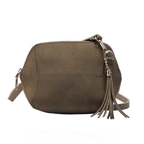 Mode Für Frauen Einfach Bereift Süßigkeit Farbe Quaste Tasche Umhängetasche,Darkgreen-OneSize