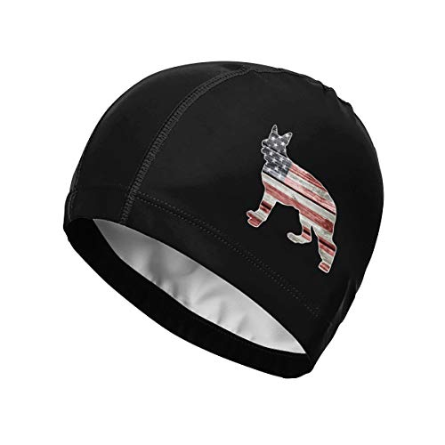 - FOECBIR American Flag German Shepherd Swim Cap Waterproof Swimming Caps for Long Hair Short Hair Women Men