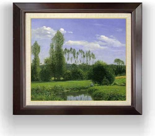 クロード・モネ ルエルの眺め F10 油絵直筆仕上げ| 絵画 10号 複製画 ブラウン額縁 675×601mm