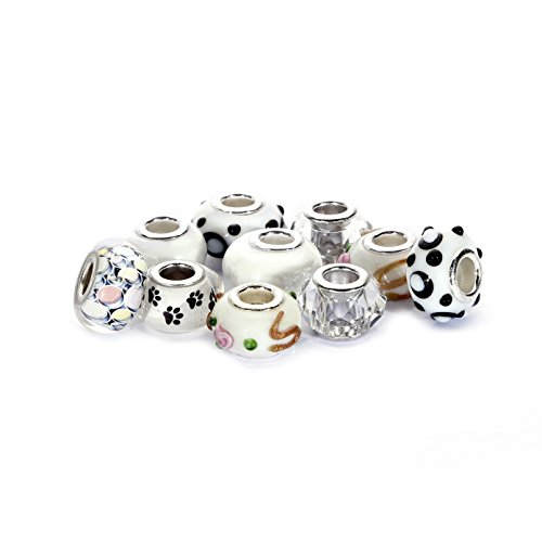 BRCbeads Top Quality 10Pcs Mix Silver Plate WHITE THEME Murano Lampwork European Glass Crystal Charms Beads Spacers Fit Troll Chamilia Carlo Biagi Zable Snake Chain Charm Bracelets. (Lampwork Glass Charms)