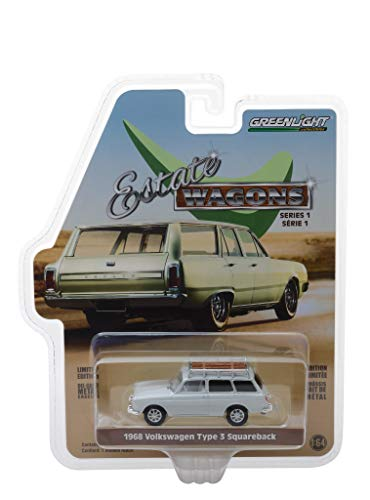 - 1968 Volkswagen Type 3 Squareback Lotus White with Roof Rack Estate Wagons Series 1 1/64 Diecast Model Car by Greenlight 29910 D