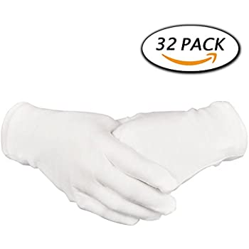 "16 Pairs White Cotton Gloves 8.6"" Large Size for Coin Jewelry Silver Inspection by Paxcoo"