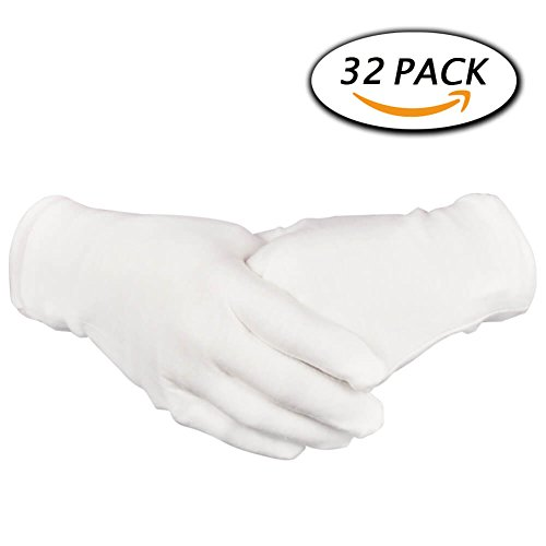 Dermatological Cotton Gloves - 16 Pairs White Cotton Gloves 8.6