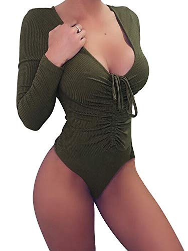 Yizenge Women s Sexy Deep V Neck Bodysuit Long Sleeve Bodysuits Jumpsuits 45ec79315