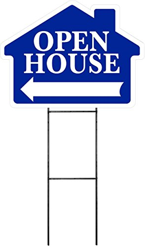 """OPEN HOUSE sign with Arrow - BLUE - House Shape Corrugated Sign Kit INCLUDES 24"""" Sign Stake"""