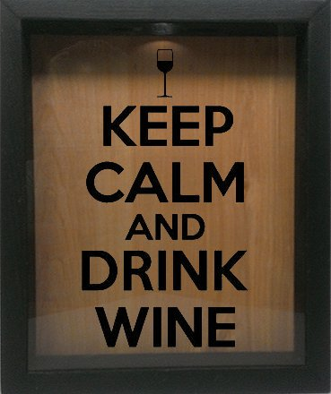 Keep Calm and Drink Wine Wooden Shadow Box