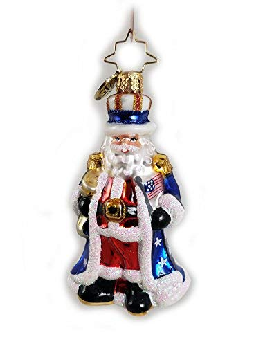 (Christopher Radko Uncle Sam Santa Little Gem Glass Ornament made in Poland)