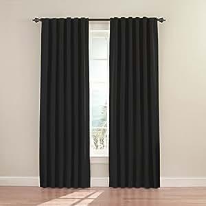 Eclipse 11353052X084BK Fresno 52-Inch by 84-Inch Blackout Single Window Curtain Panel, Black