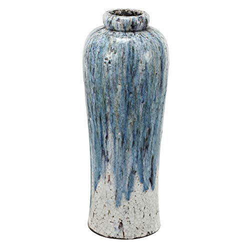 (Benzara BM181002 Beautifully Textured Terracotta Vase, Blue and White)
