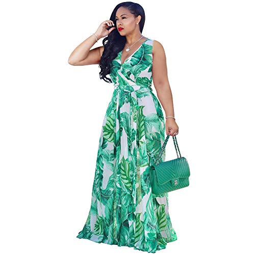 Nuofengkudu Womens Chiffon Deep V-Neck Printed Floral Maxi Dress Sleeveless Dresses Waisted Belt Plus Size (Green)