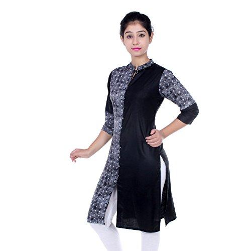 Chichi Indian Women Kurta Kurti 3/4 Sleeve Medium Size Plain with One Side Printed Straight Black-White Top by CHI (Image #2)