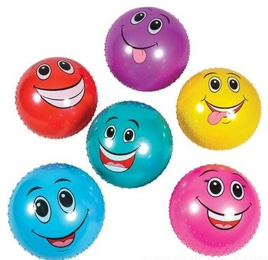 6 Pack Knobby Balls Funny Faces 18
