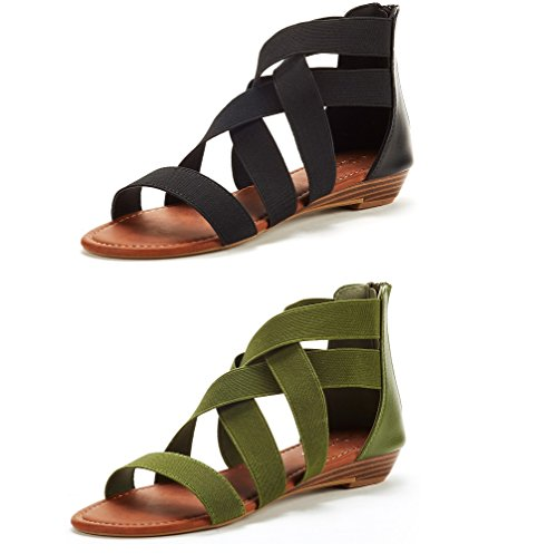 Black Womens Green - DREAM PAIRS Women's ELASTICA8 Black and Army Green (2 Pairs) Elastic Ankle Strap Low Wedges Sandals Size 8 M US