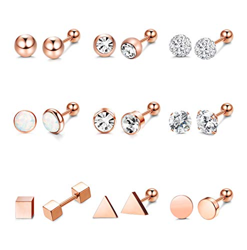 - Hanpabum 9 Pairs Stainless Steel Ball Stud Earrings Barbell CZ Cartilage Helix Ear Piercing Jewelry Set for Men Women