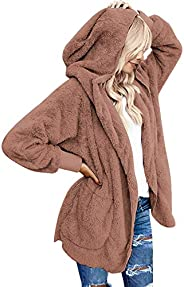 luvamia Women Fuzzy Fleece Open Front Pocket Hooded Cardigan Jacket Coat Outwear