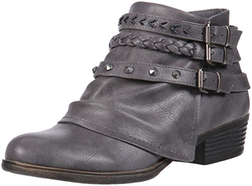 Sugar Truth Womens Fashion Braided Buckle and Studded Strap Low Heel Ankle Boot, Charcoal Tonal, 7.5 Medium US