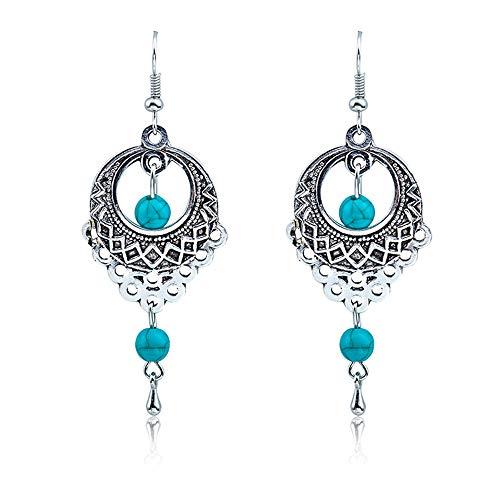 Bracet Vintage Openwork Flower Round Turquoise Earrings and Teardrop Hook Earwires Dangle Earrings