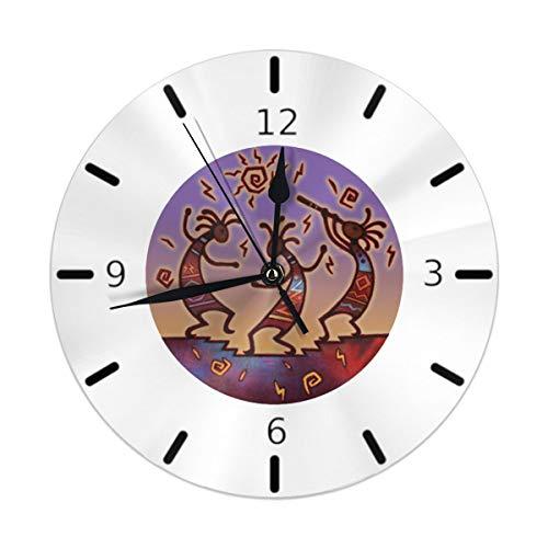 Flypo-yoc Kokopelli Dance Round Acrylic Wall Clock, Silent Non Ticking Oil Painting Home Office School Decorative Clock Art ()