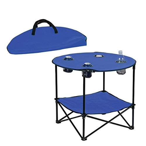Preferred Nation Folding Table, Polyester with Metal Frame, 4 Mesh Cup Holders, Compact, Convenient  Carry Case Included - Blue (Round Chair With Cup Holder)